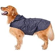 Bwiv Extra Large Hooded Dog Raincoat With Reflective Strips 100% Waterproof Dog Rain Jacket Navy 5XL