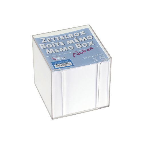 König & Ebhardt 860101099 Zettelbox (transparente Knststoffbox, 9,5 x 9,5 x 9,5 cm, 700 Blatt) weiß