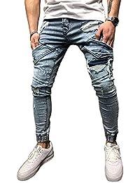 BMEIG Jeans Ajustados Hombre Slim Fit Rotos Pantalones de Mezclilla  Elásticos Ripped Desgastados con Bolsillo Trabajo Hiphop… 06e6e5f11e1