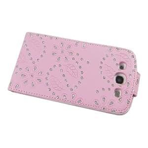 Business Case Cover Samsung i9300 Galaxy S3 Smartphone Etui Flip Glitzer shiny chic Fashion Blink Strass pink Blumen Blumenmuster