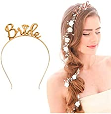 Ziory Gold Plated Bride to be Zinc Alloy Crystal Bachelorette Party Tiara for Girls