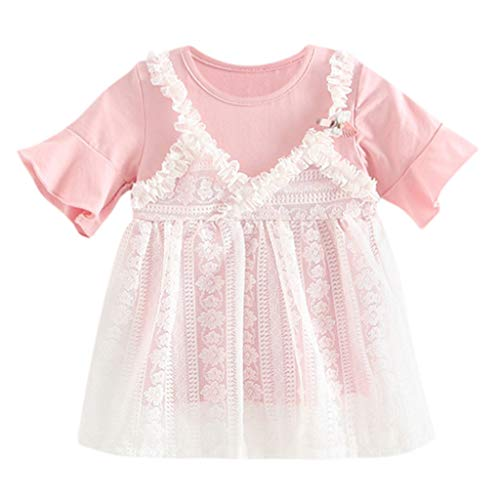 Dchen Spitze Blume Mesh Patchwork Prinzessin TüLl Kurze ÄRmel Kleiden Party Hochzeit Elegant Süß Kleiden(Rosa,18-24 Monate) ()