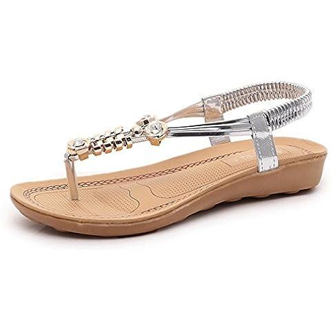 Fortan Le donne Bohemian perline sandali della punta della clip