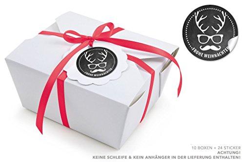 10 WEIßE BOXEN + 24 STICKER HIPSTER HIRSCH SCHWARZ (Take Away Boxen / Kraftkarton / Pappe / Speiseboxen / Deko Geschenkboxen / Kartonschachteln / Faltdeckel / mit Innenbeschichtung / 600ml (Brille Santa Runde)
