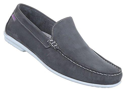Herren Halbschuhe Schuhe Leder außen und innen Slipper Loafers schwarz camel blau grau 41 42 43 44 45 46 Grau