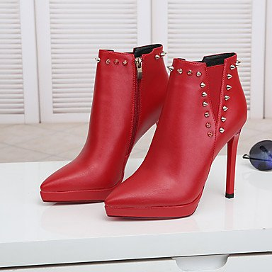 Moda Donna Sandali Sexy donna tacchi Primavera / Autunno / Inverno piattaforma matrimonio cuoio / abito / Casual Stiletto Heel Rivetto nero / rosso altri Black