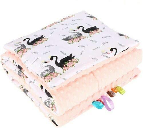 Babydecke MINKY 2.Tlg SET Kuscheldecke Krabbeldecke Plüsch 75 x 100 cm + Kissen KinderDecke 100% Baumwolle (Schwäne Schwarz auf Weiß/Pfirsich) (Baby Pfirsich Plüsch)