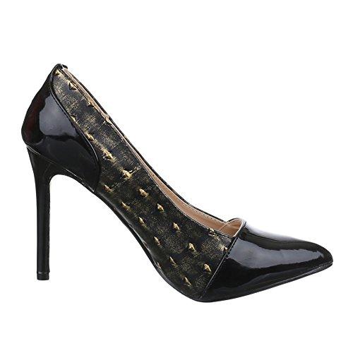 Damen Schuhe, RMD1316, PUMPS HIGH HEELS Schwarz Gold