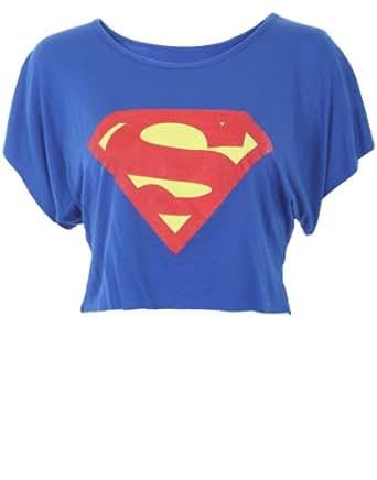 t shirt court bleu superman pour femme rouge 36 38 amazon. Black Bedroom Furniture Sets. Home Design Ideas