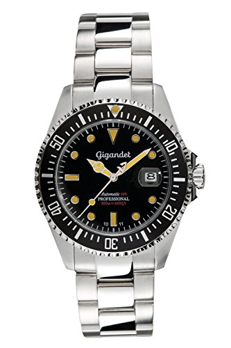 Gigandet Herren-Uhr Automatik Sea Ground Analog Vintage Taucheruhr Datum Edelstahlarmband Armbanduhr Schwarz Silber G2-007 (Herren Taucheruhren Automatik)