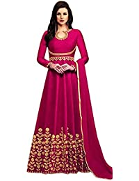Kings Fashion Bazaar Women Banglory Silks Bollywood Designer Semi-Stitched Salwar Suit (GATMPU11045_Pink_Free...