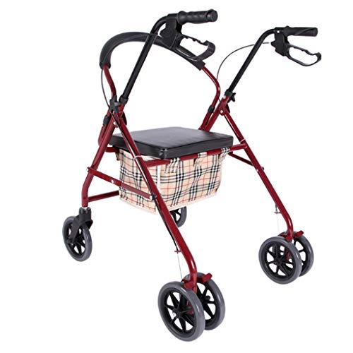 GYM Walker-Rollstuhl-Supermarkt-Einkaufswagen Kleiner Wagen Alter Wagen Pushable kann ältere Faltender Walker sitzen Vierrad Einkaufswagen-Roller-Last 150kg (Color : RED, Size : 62 * 79 * 82CM) - Griff-krücke Pad