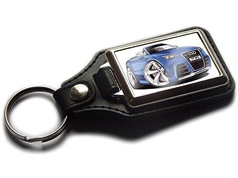 AUDI TT RS CONVERTIBLE Sports Car Premium Koolart Leather and Chrome Keyring Choose a Colour!