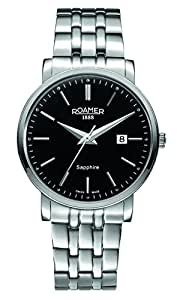 Roamer Classic Line Men's Quartz Watch with Black Dial Analogue Display and Silver Stainless Steel Bracelet