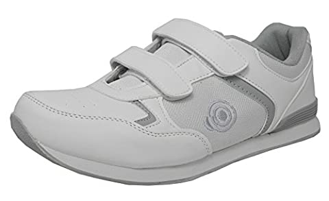 Mens Flat Sole Lightweight Velcro Bowls Shoes Bowling Trainers White Size 8