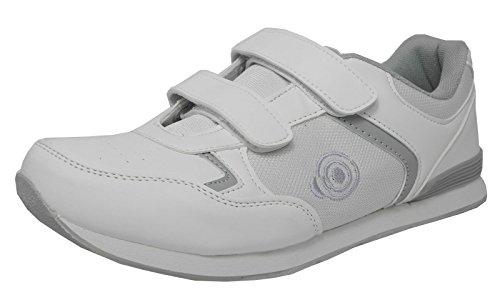 Flach, leichtgewichtig und Herren Bowling-Schuhe, Klettverschluss, Bowling-Schuhe, Weiß, Weiß - weiß - Größe: 41