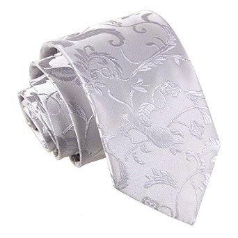 Corbata Flores Plata