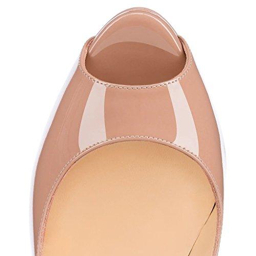 uBeauty - Scarpe da Donna - Scarpe col Tacco - Scarpe con plateau - Scarpe peep toe Beige
