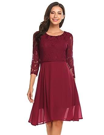 Keland Damen Chiffon Spitze Kleid Sleeveless O Ansatz elegante Party Kleid