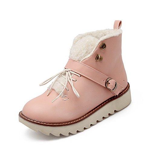 AgooLar Damen Niedrig-Spitze Schnüren Niedriger Absatz Rund Zehe Stiefel Pink