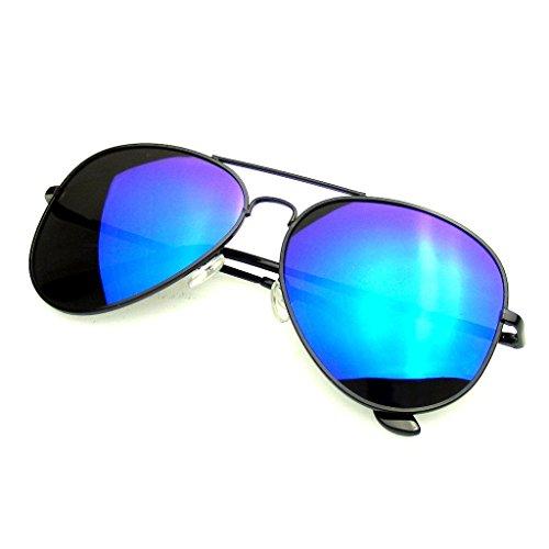 Emblem Eyewear Sonnenbrille Jahrgang Spiegel Linse Neu Männer Frau Mode Pilot Retro mit Flieger Pilotenbrille Rahmen (Polarisierte Linse   Schwarz und Blau)
