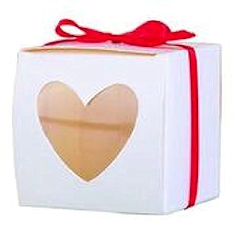 10 x Single Mini Cupcake Boxes With Heart Window 6x6x6cm Wedding Party Favour Box