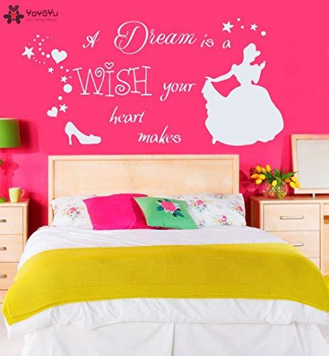 ganlanshu Calcomanía de Pared de habitación de niña de Dibujos Animados de Princesa Dream Dream is Hope Your Heart Make Wall Sticker Chica Zapatos para habitación de niños 86cmX42cm