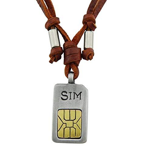 Veuer Echtleder Echtes Leder Hals-Kette Schmuck für Herren Mobile SIM Karte Geschenk zu Weihnachten für Männer, Freund, Ehe-Mann