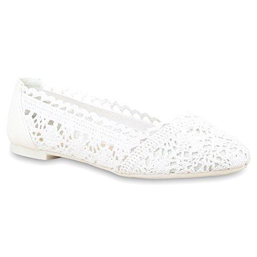 Damen Ballerinas Slipper Flache Spitze Häkeloptik Feminine Slip-Ons Stoff Strass Metallic Schuhe 67825 Weiß 39 Flandell