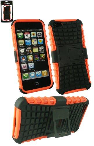 Emartbuy® Apple Iphone 5s 5 Dual Schicht Robuste Starkes Schutzhülle Case Cover mit Integriertem Ständer Rot / Schwarz Dual Schicht Orange / Schwarz