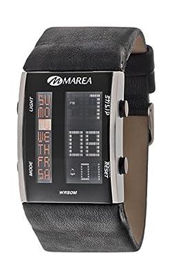 Ref. B35107/7 Reloj Marea Caballero, correa cuero colo negro, caja de acero, digital, indica el dia de la semana, sumergible 50 metros.
