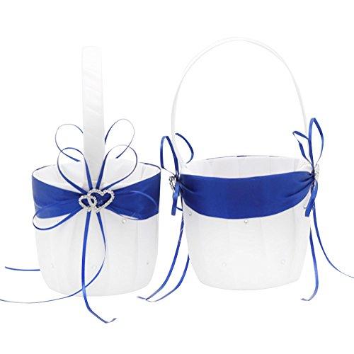 2Strand Hochzeit Blumenmädchen Korb Weiß und Royal Blau Blume Korb mit doppelter Herz Strass Decor - Korb Blumen Ein Mit