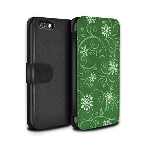 Stuff4 Coque/Etui/Housse Cuir PU Case/Cover pour Apple iPhone SE / Pack (7 pcs) Design / Motif flocon de neige Collection Vert