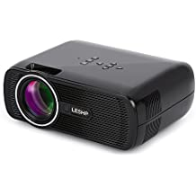 LESHP Mini Proyector LED 1080p HD HDMI / VGA / USB / AV / TV Home Cinema (1300 Lumens, Negro)