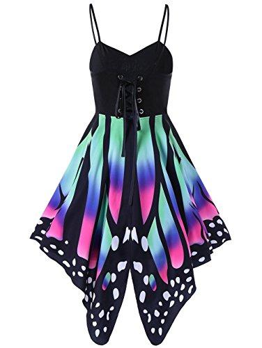 Hippolo Lace Up Spaghetti Strap Strandkleid Sommer Schmetterling Print Hohe Taille V-Ausschnitt Eine Linie Sommerkleid Party Kleider Frauen (XXL, Stil 3) (Schmetterling A-linie)