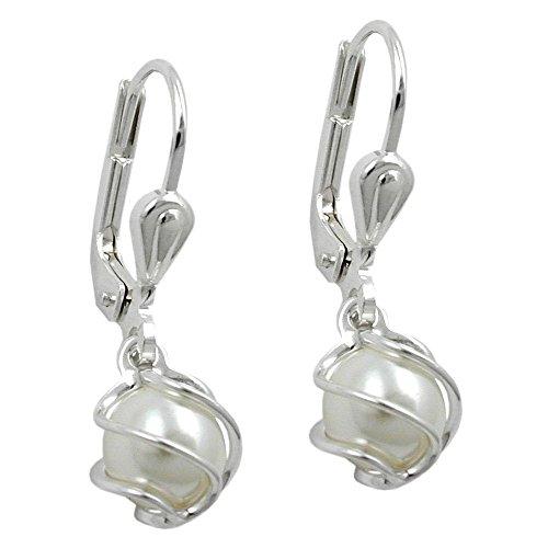 Ohrring Brisur Perle Imitat-weiß 925 Sterling Silber 90821