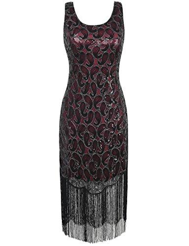 PrettyGuide Damen Sequin 1920 Paisley Plus Size Quasten Hem Flapper Cocktail Kleid XXL schwarz