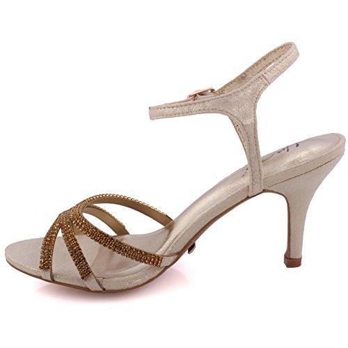 Unze Le nuove donne Ladies 'Folio' di metallo Diamante ha abbellito cinturino alla caviglia della punta di pigolio media tacco alto da sera, da sposa, pattini del partito promenade Formati 3-8 Oro