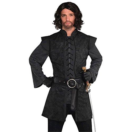 Mens Medieval style Black Knight Tunic Renaissance Jerkin Fancy Dress Accessory M (40-42