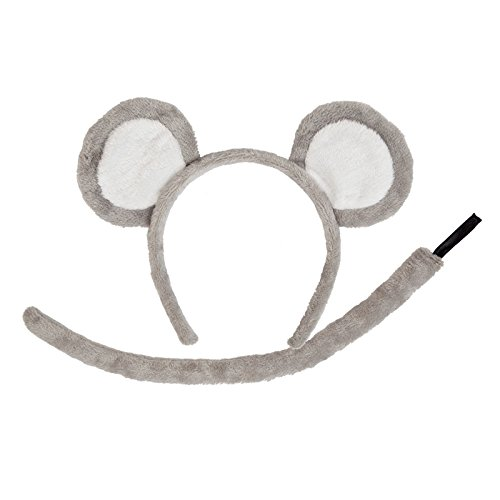 Wicked Adult Animal Ears and Tail Set Grey Mouse Fancy Dress Accessory Plush Halloween