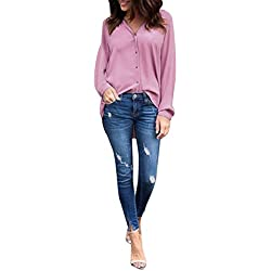 –Camiseta de mujer lonshell übergroß Mujeres Blusa Sin Manga Larga Ocio gasa Camisa Tops, hombre, Lonshell Damen Pullover, Rosa