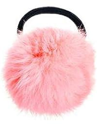 Goma para el pelo, piel de conejo sintética, estilo coreano, color negro rosa rosa