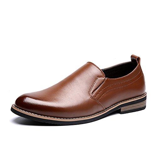 Apragaz Klassische Schuhe für Herren Formale Echtleder Business Oxfords Block Heel Slip-On Kleid Schuhe (Color : Braun, Größe : 40 ()