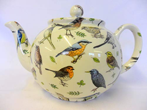 6Tasse Teekanne in Garden Birds von Heron Cross Pottery. Garden Teekanne