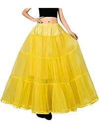 Feoya Enaguas Tutu Falda Larga 50s Vintage para Mujer Chica Tul Retro Miriñaque Baile Underskirt