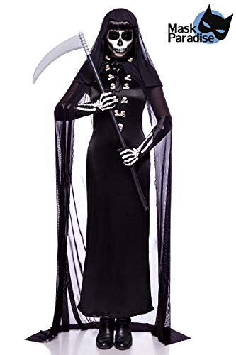 Dunkler Tod Kostüm - Totengräberkostüm Totengräber Damen Kostüm Halloween Sensenmann Leiche 34-46