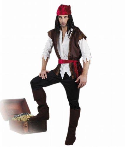Boland 83533 - Erwachsenenkostüm Pirat mit Hose,Shirt,Weste,Stiefelstulpen und Gürtel, Gröߟe 54 / (Piraten Outfit Männer)