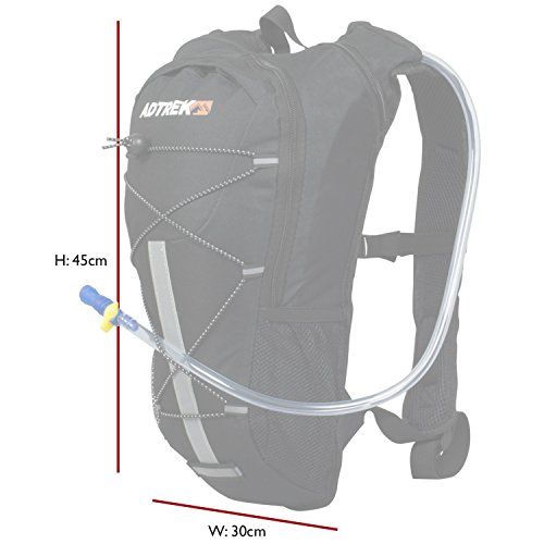 Adtrek - Trinksystem-Rucksack mit Trinkblase - Ideal zum Wandern/Radfahren - 2 Liter Grau