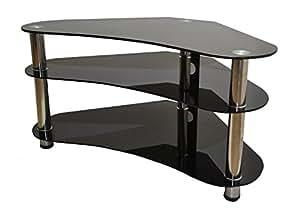 mountright gt7ss meuble tv d 39 angle en verre incurv avec pieds argent s tv vid o. Black Bedroom Furniture Sets. Home Design Ideas