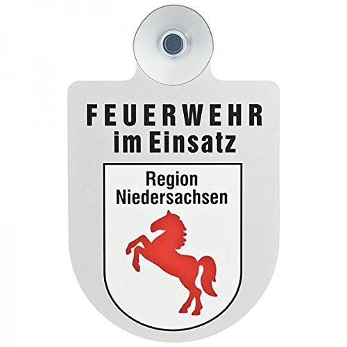 Preisvergleich Produktbild Alu Saugnapf Wappen Schild Feuerwehr im Einsatz mit Wappen Niedersachsen